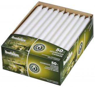 Box of 50 White Household Candles