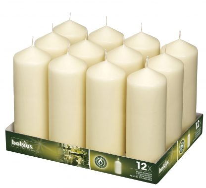 Cream Pillar Candles tray of 12