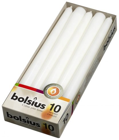 white tapered candles 10 pack