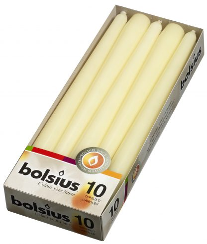 cream tapered candles 10 pack
