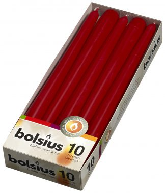 wine red tapered candles 10 pack