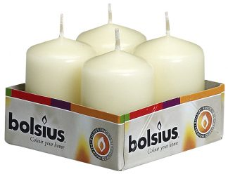pillar candle 4 pack cream