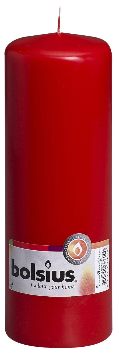 red tall pillar candle