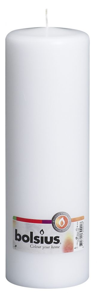 white tall bolsius pillar candle