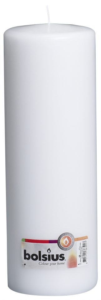 white tall pillar candle